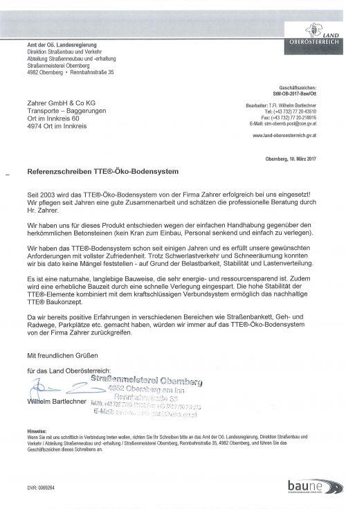 Referenzschreiben Straßenmeisterei Obernberg
